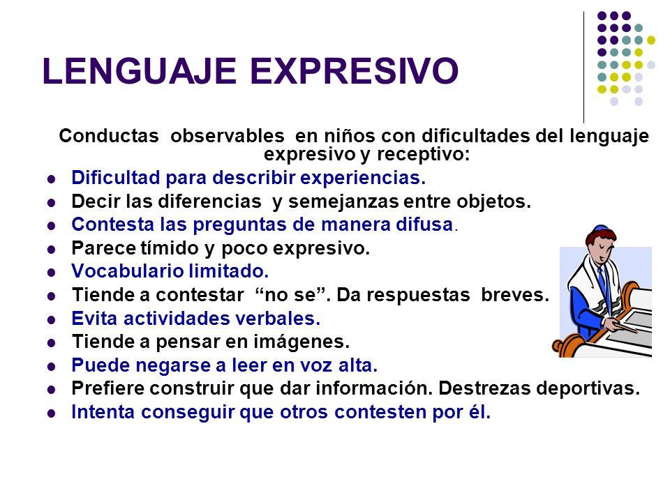 LENGUAJE EXPRESIVO Conductas observables en niños con dificultades del lenguaje expresivo y receptivo:
