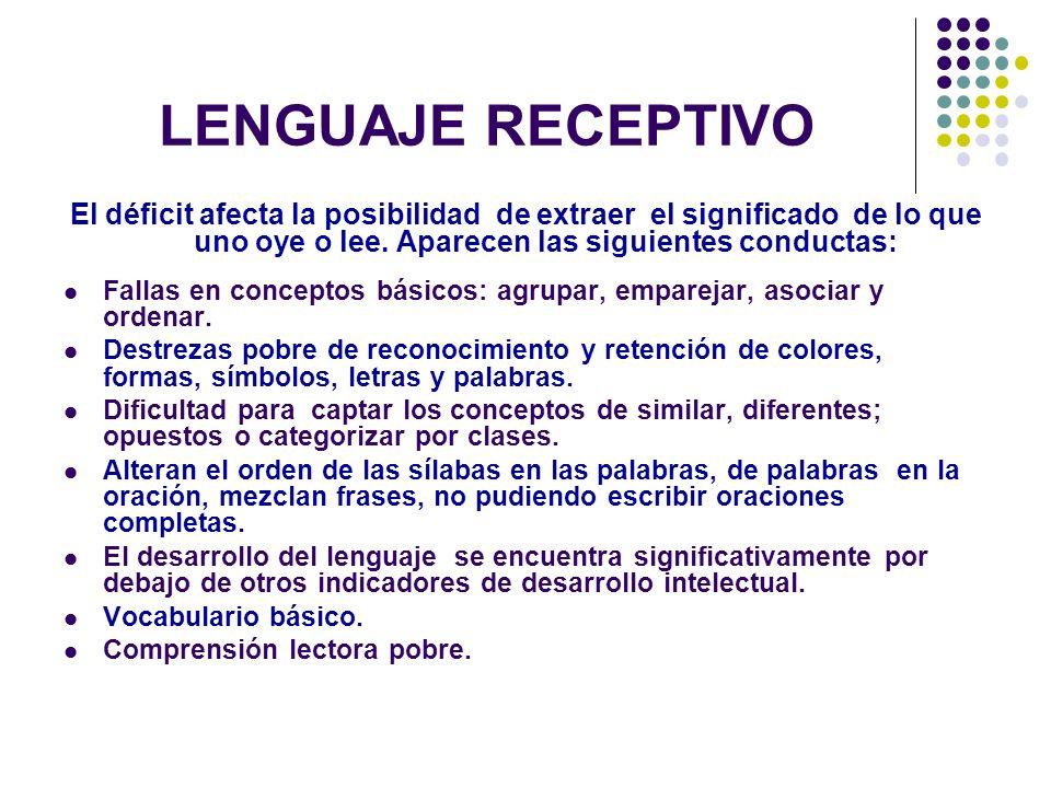 LENGUAJE RECEPTIVO El déficit afecta la posibilidad de extraer el significado de lo que uno oye o lee. Aparecen las siguientes conductas: