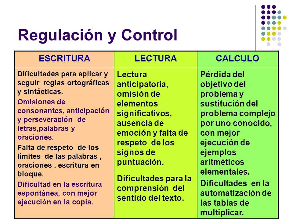 Regulación y Control ESCRITURA LECTURA CALCULO