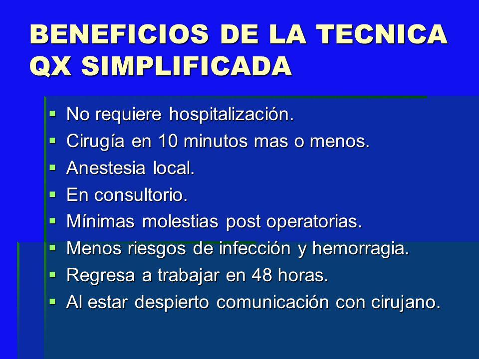 BENEFICIOS DE LA TECNICA QX SIMPLIFICADA