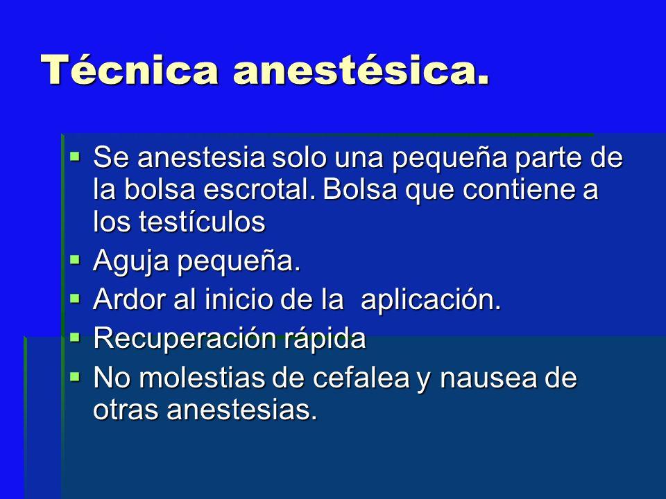 Técnica anestésica.Se anestesia solo una pequeña parte de la bolsa escrotal. Bolsa que contiene a los testículos.