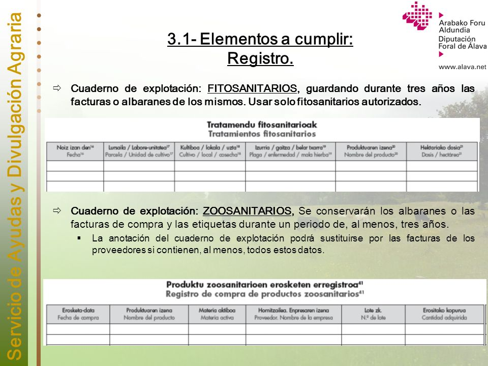 3.1- Elementos a cumplir: Registro.