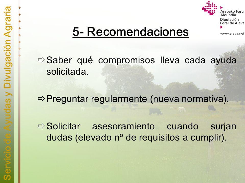 5- Recomendaciones Saber qué compromisos lleva cada ayuda solicitada.