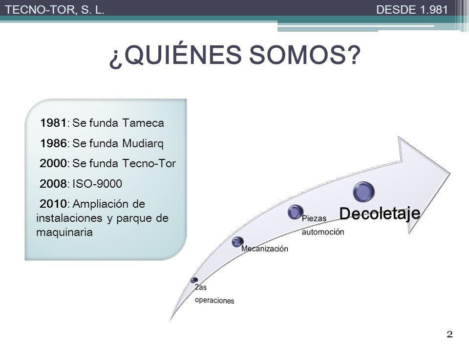 ¿QUIÉNES SOMOS Decoletaje TECNO-TOR, S. L. DESDE 1.981