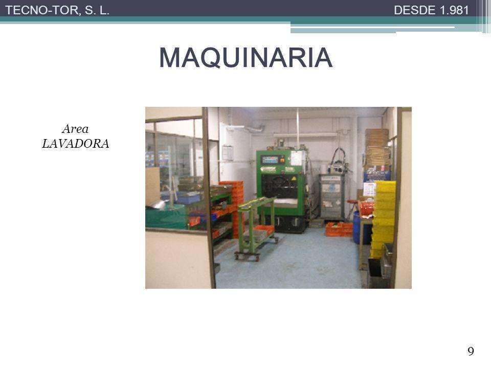 TECNO-TOR, S. L. DESDE 1.981 MAQUINARIA Area LAVADORA 9