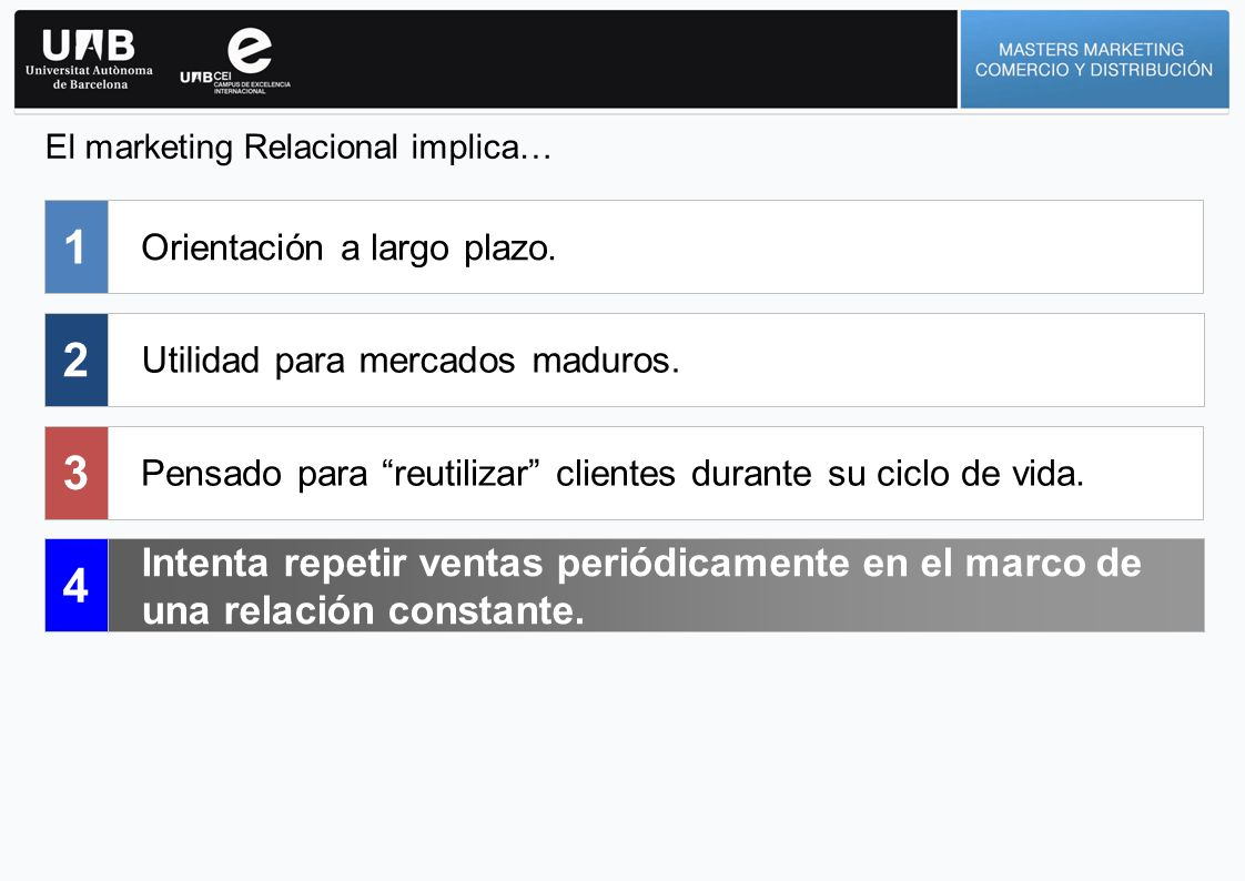 El marketing Relacional implica…
