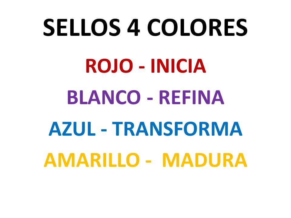 ROJO - INICIA BLANCO - REFINA AZUL - TRANSFORMA AMARILLO - MADURA