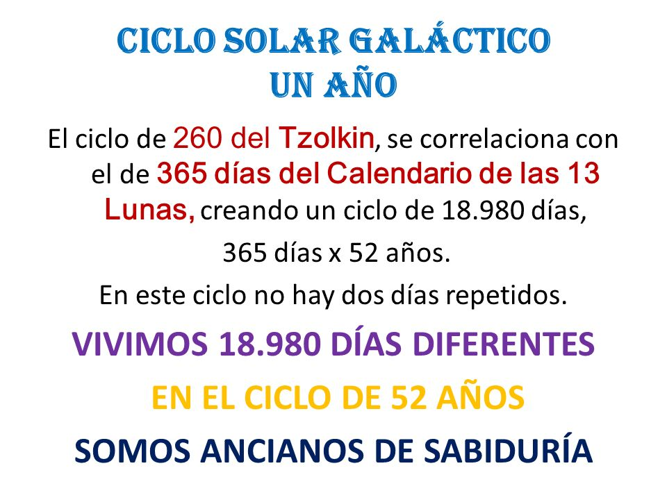 CICLO SOLAR GALÁCTICO UN AÑO
