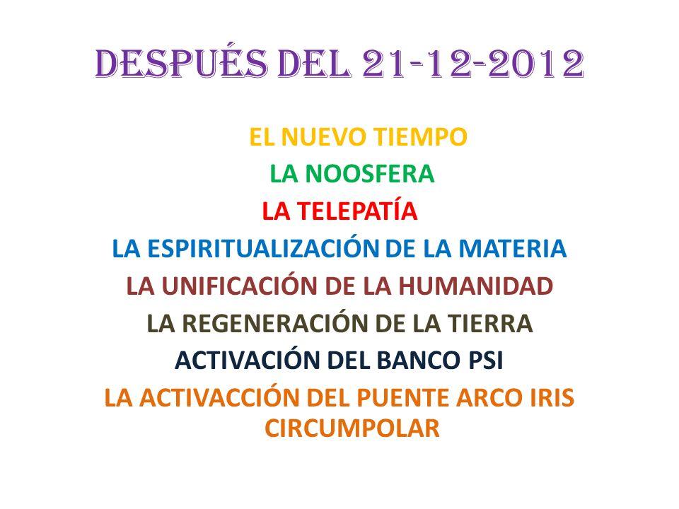 Después del 21-12-2012 EL NUEVO TIEMPO LA NOOSFERA LA TELEPATÍA