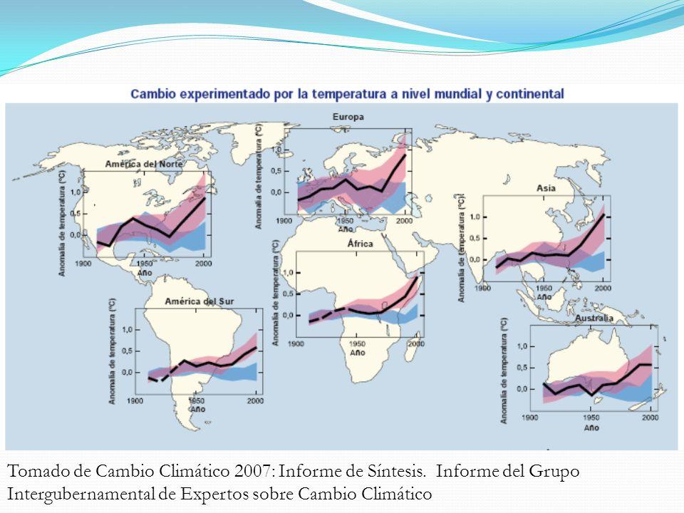 Diagnóstico Mundial Tomado de Cambio Climático 2007: Informe de Síntesis.