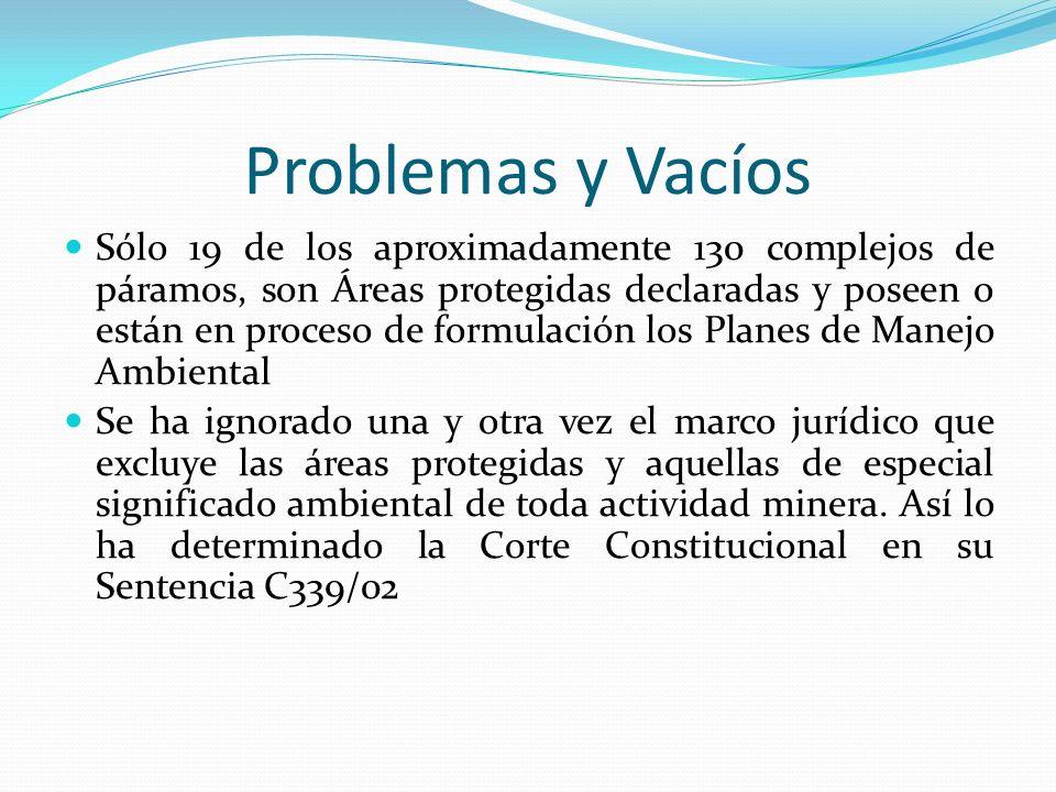 Problemas y Vacíos