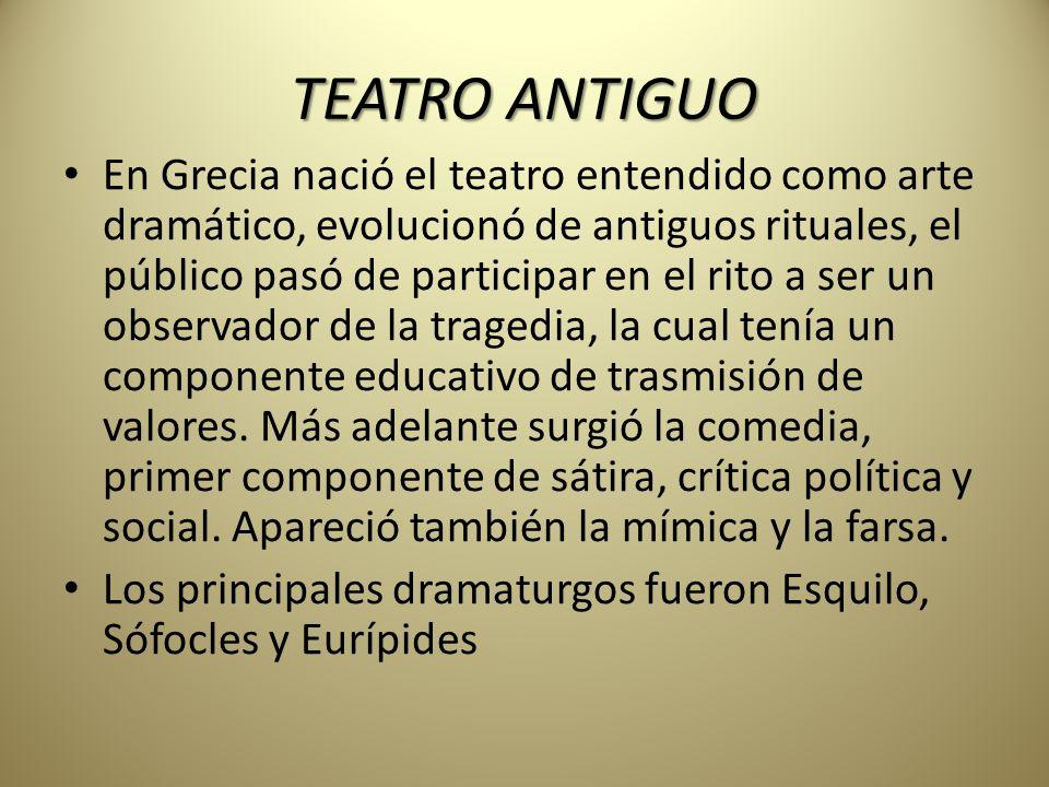 Historia del teatro teatro cualquier grupo de gente que for Definicion de espectaculo