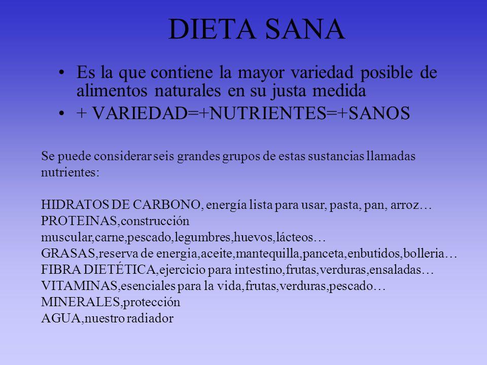 DIETA SANA Es la que contiene la mayor variedad posible de alimentos naturales en su justa medida. + VARIEDAD=+NUTRIENTES=+SANOS.