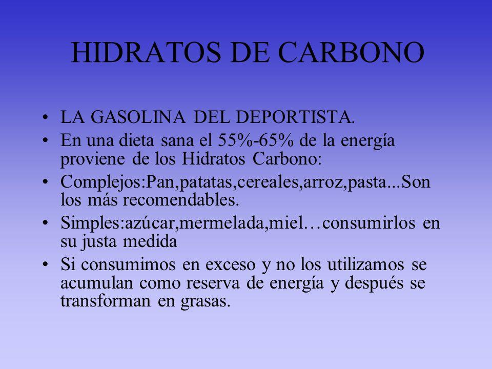 HIDRATOS DE CARBONO LA GASOLINA DEL DEPORTISTA.