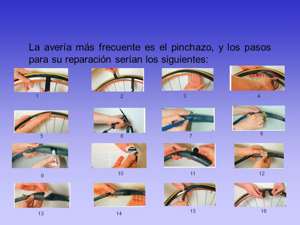 La avería más frecuente es el pinchazo, y los pasos para su reparación serían los siguientes: