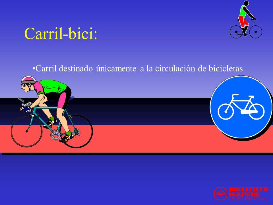 Carril-bici: Carril destinado únicamente a la circulación de bicicletas