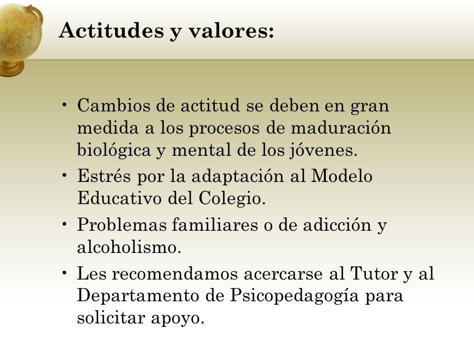 Actitudes y valores: Cambios de actitud se deben en gran medida a los procesos de maduración biológica y mental de los jóvenes.