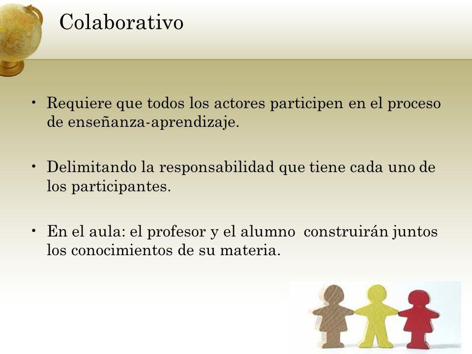 ColaborativoRequiere que todos los actores participen en el proceso de enseñanza-aprendizaje.