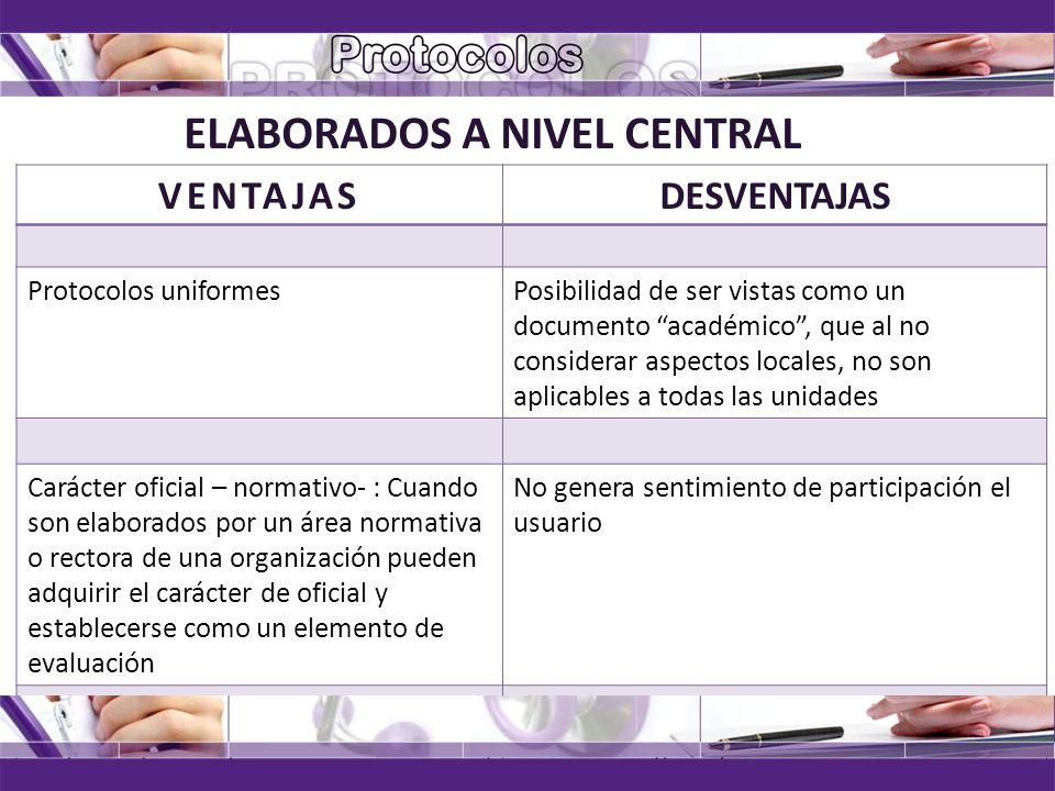 ELABORADOS A NIVEL CENTRAL