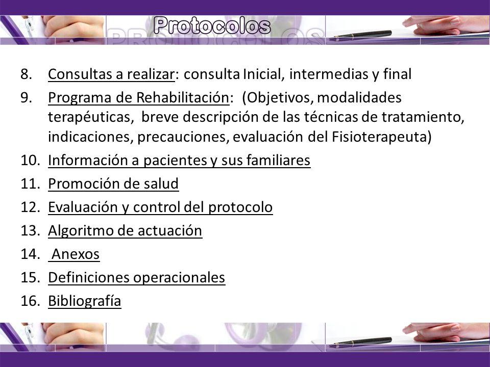 Consultas a realizar: consulta Inicial, intermedias y final