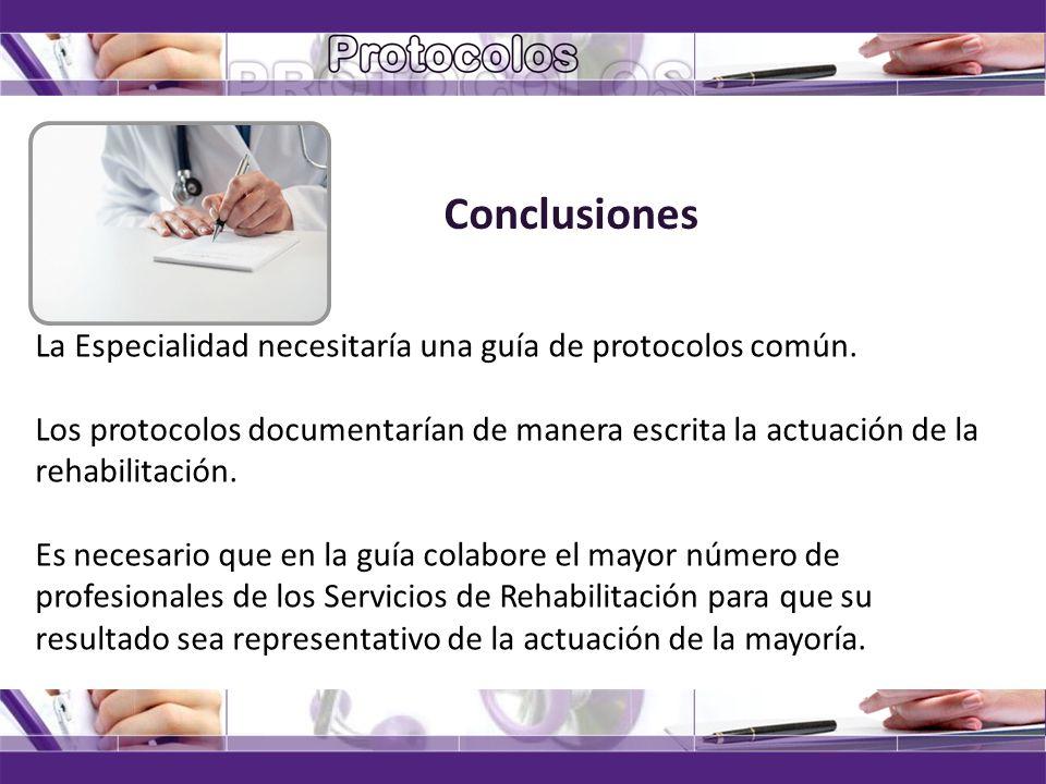 Conclusiones La Especialidad necesitaría una guía de protocolos común.