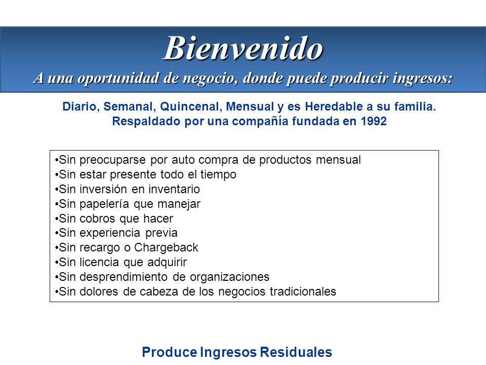 Bienvenido A una oportunidad de negocio, donde puede producir ingresos: Diario, Semanal, Quincenal, Mensual y es Heredable a su familia.