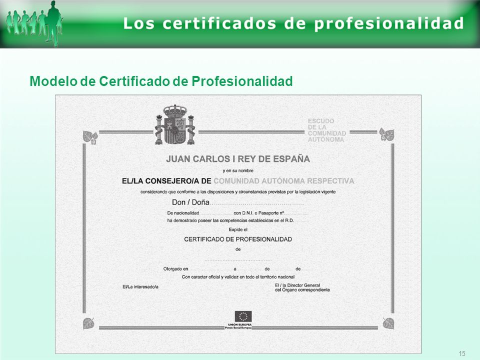 Modelo de Certificado de Profesionalidad