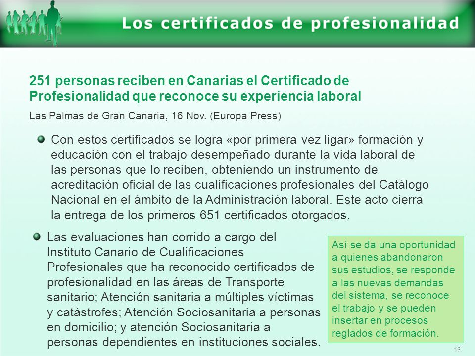 251 personas reciben en Canarias el Certificado de Profesionalidad que reconoce su experiencia laboral