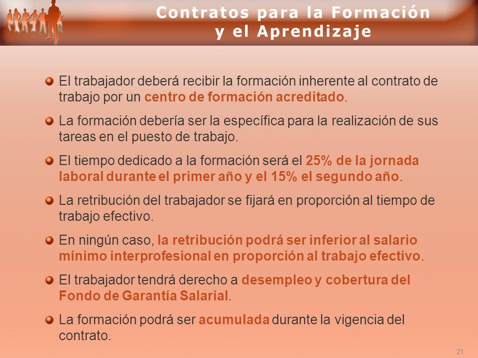 El trabajador deberá recibir la formación inherente al contrato de trabajo por un centro de formación acreditado.