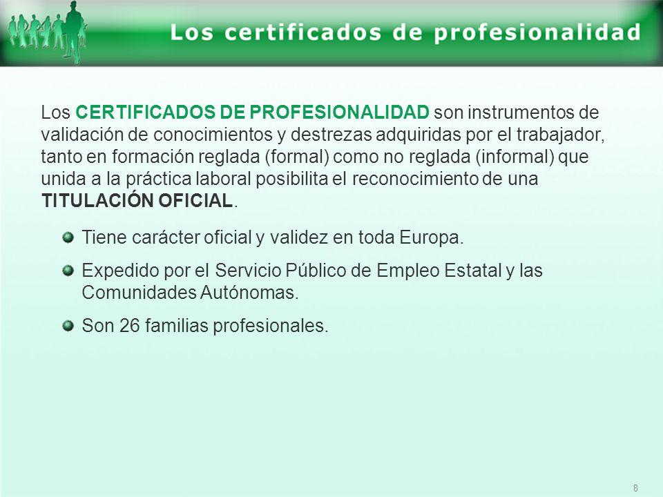 Los CERTIFICADOS DE PROFESIONALIDAD son instrumentos de validación de conocimientos y destrezas adquiridas por el trabajador, tanto en formación reglada (formal) como no reglada (informal) que unida a la práctica laboral posibilita el reconocimiento de una TITULACIÓN OFICIAL.