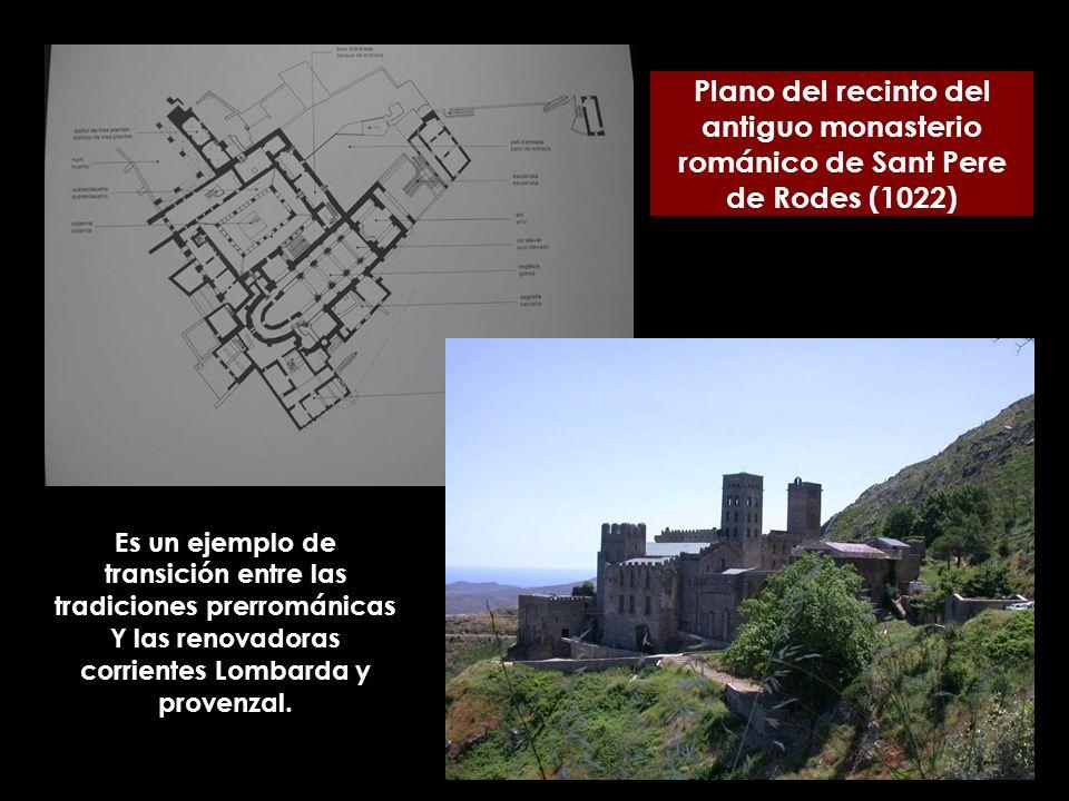 Plano del recinto del antiguo monasterio románico de Sant Pere de Rodes (1022)