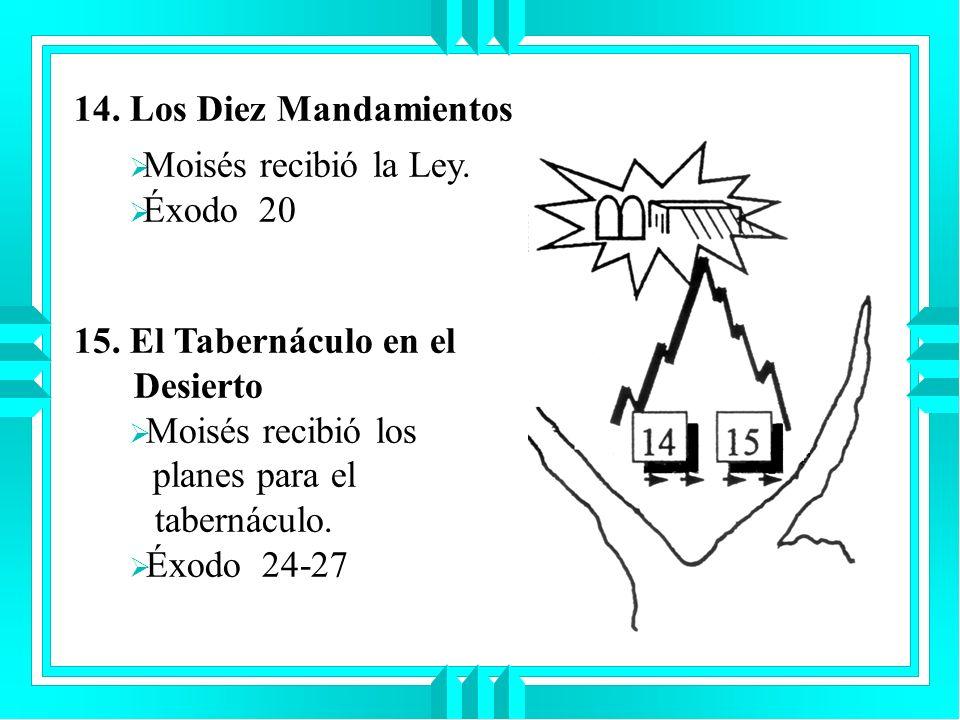 14. Los Diez MandamientosMoisés recibió la Ley. Éxodo 20. 15. El Tabernáculo en el Desierto.