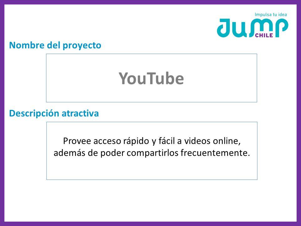YouTube Nombre del proyecto Descripción atractiva