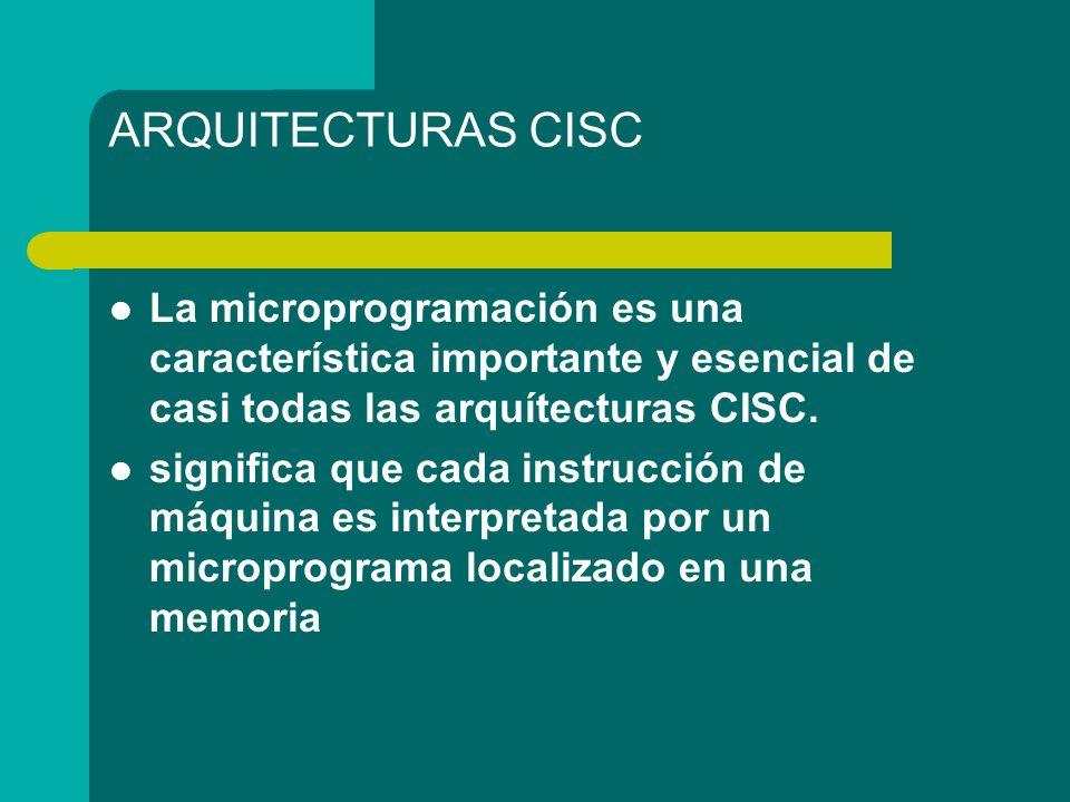 ARQUITECTURAS CISC La microprogramación es una característica importante y esencial de casi todas las arquítecturas CISC.