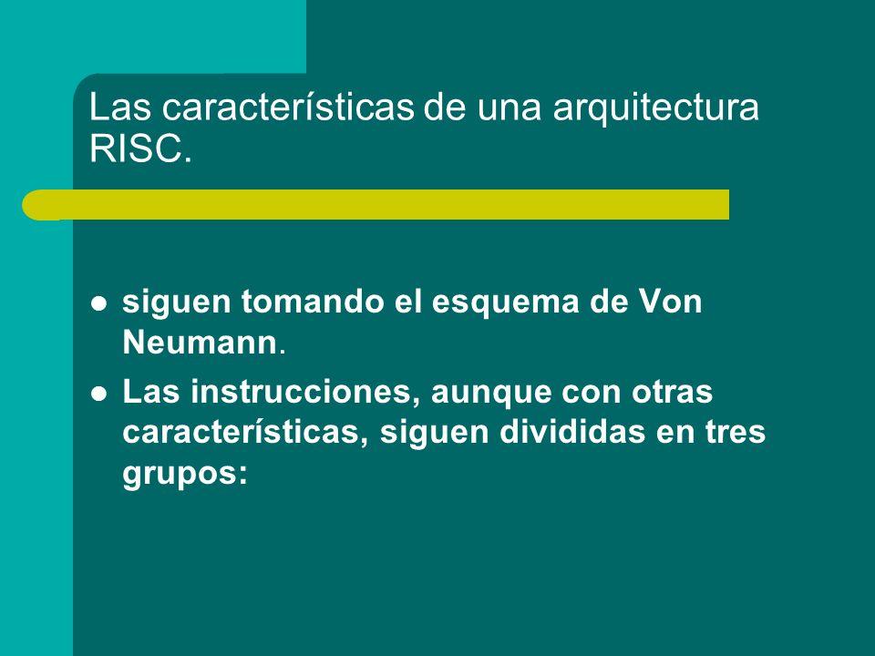 Las características de una arquitectura RISC.