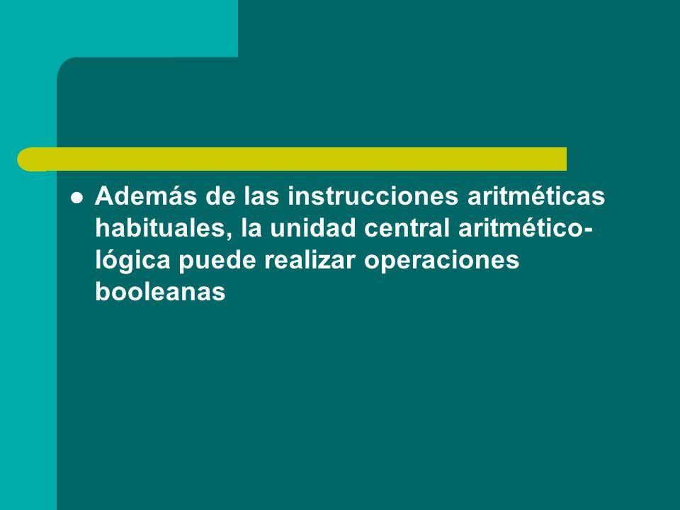 Además de las instrucciones aritméticas habituales, la unidad central aritmético-lógica puede realizar operaciones booleanas