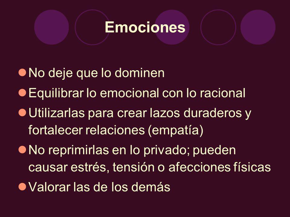 Emociones No deje que lo dominen