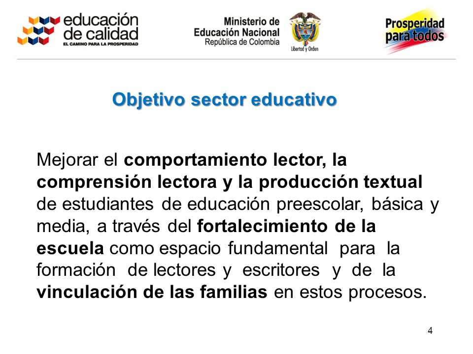 Objetivo sector educativo