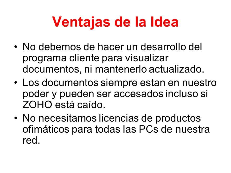 Ventajas de la IdeaNo debemos de hacer un desarrollo del programa cliente para visualizar documentos, ni mantenerlo actualizado.