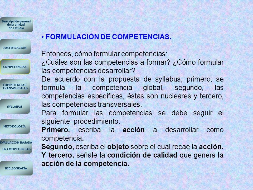 FORMULACIÓN DE COMPETENCIAS. Entonces, cómo formular competencias: