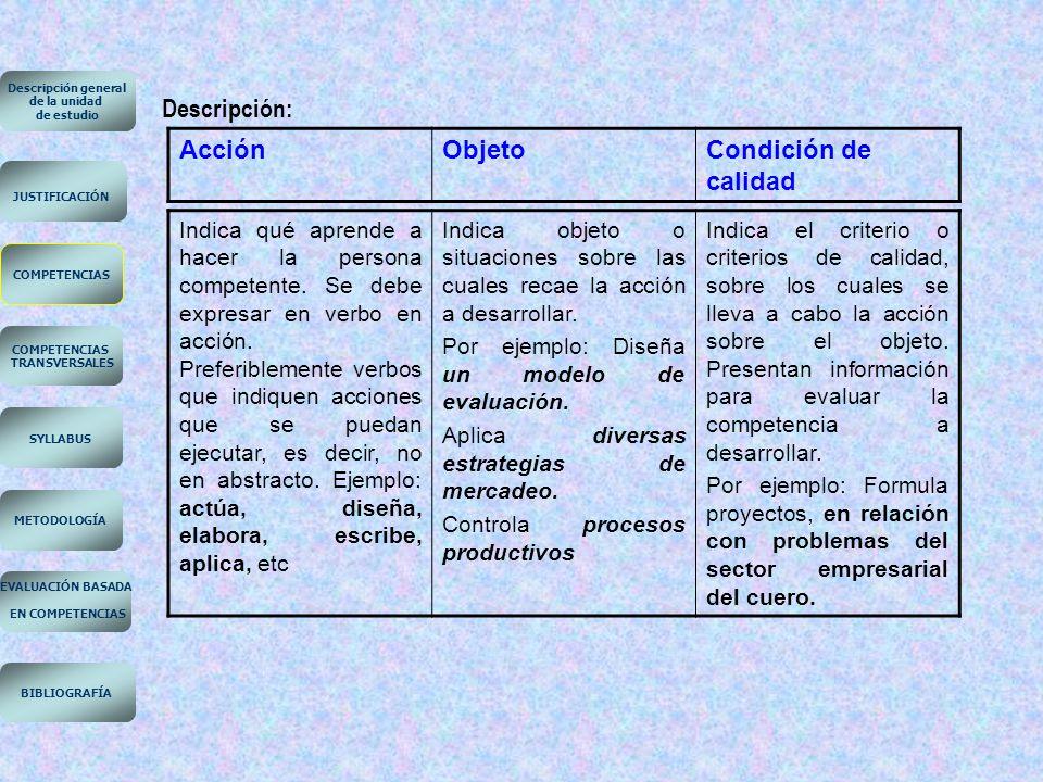 Descripción: Acción Objeto Condición de calidad EN COMPETENCIAS