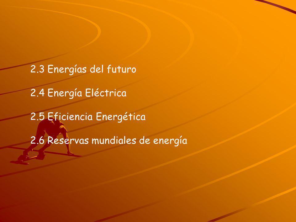2.3 Energías del futuro2.4 Energía Eléctrica.2.5 Eficiencia Energética.
