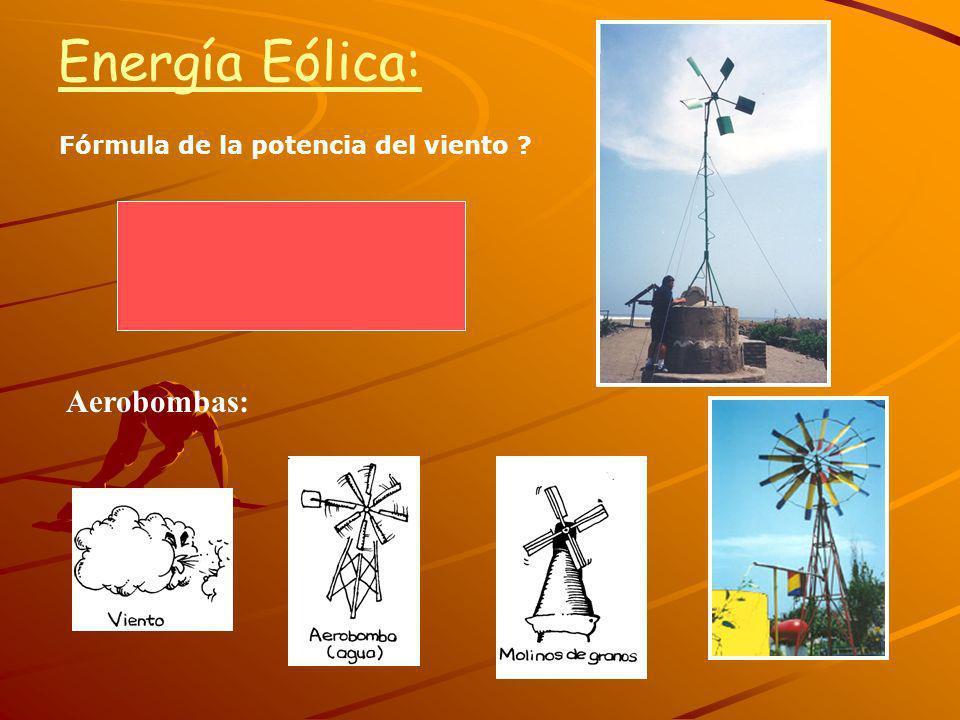 Energía Eólica: Fórmula de la potencia del viento Aerobombas: