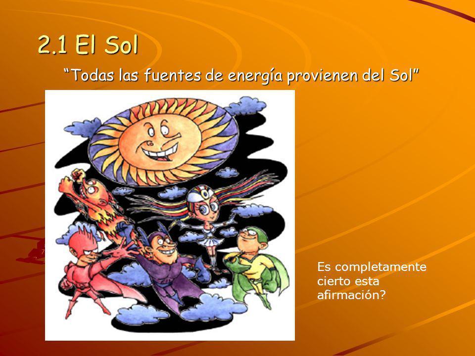Todas las fuentes de energía provienen del Sol