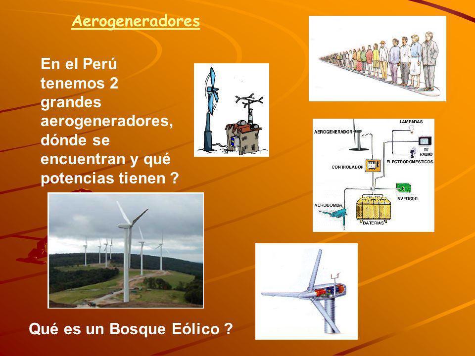 Aerogeneradores En el Perú tenemos 2 grandes aerogeneradores, dónde se encuentran y qué potencias tienen