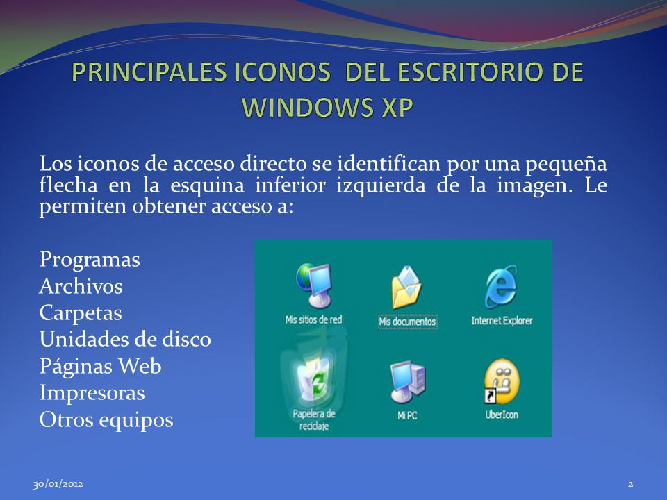PRINCIPALES ICONOS DEL ESCRITORIO DE WINDOWS XP