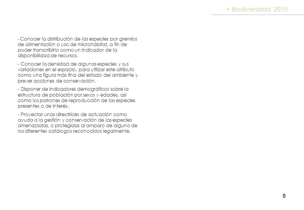 + Biodiversidad 2010