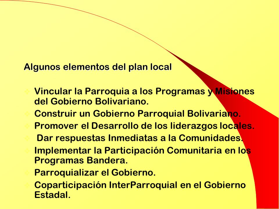 Algunos elementos del plan local