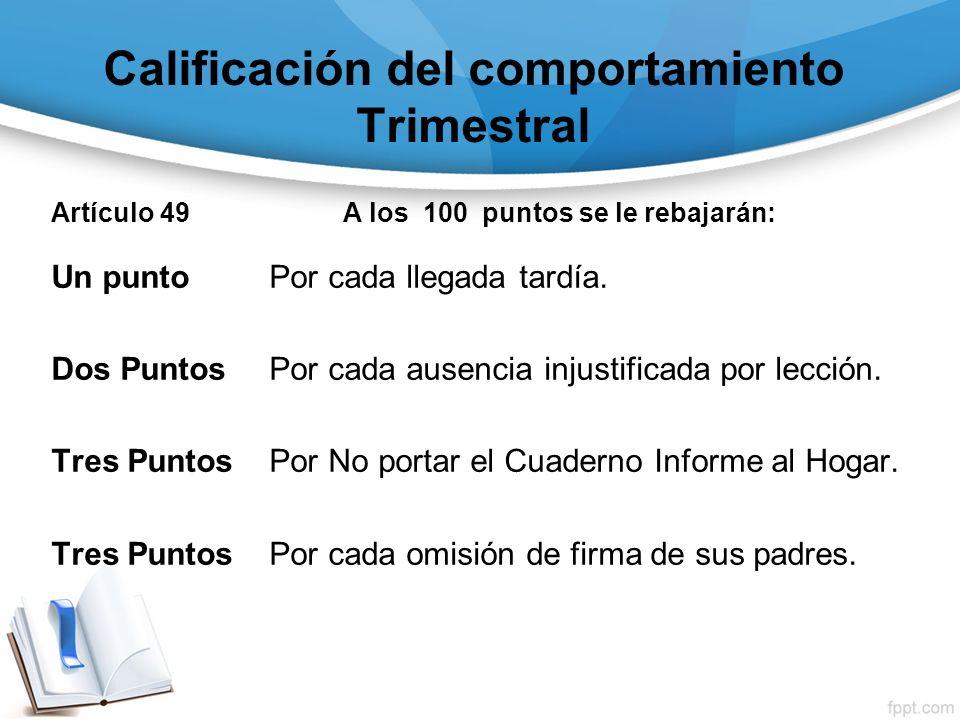 Calificación del comportamiento Trimestral