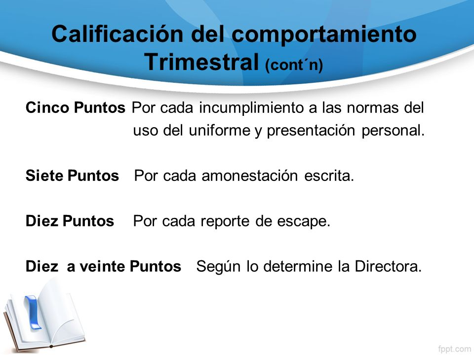 Calificación del comportamiento Trimestral (cont´n)